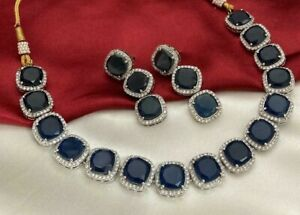 Indian Silver Plated Bollywood CZ Blue Choker Necklace Earrings Set Jewelry