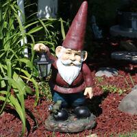 """Sunnydaze Sammy the Solar Lantern Gnome Statue - Outdoor Garden Decor  - 29"""""""