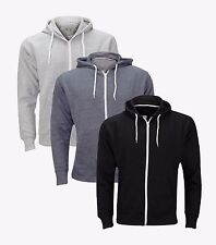 Mens Boys Fleece Black Grey Navy Zipper Hoodie Zip through Hooded Sweat Shirts