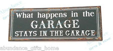 """'What happens in the Garage Stays in the Garage"""" Metal Wall Sign Man Cave & Bar"""