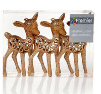 6 x Champ Gold Glitter Deer Reindeer Hanging Decorations Christmas tree Baubles