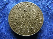 POLAND 10 ZLOTYCH 1933, KM22 peck above crown