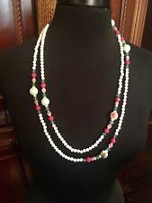 "VTG Art Deco Faceted & Milk Art Glass Greens Pinks Beads Flapper Necklace 60"""