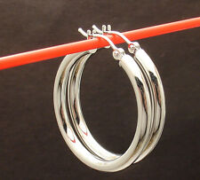 """1 1/4"""" 3mm x 30mm Plain Round Hoop Earrings Real 14K White Gold FREE SHIPPING"""