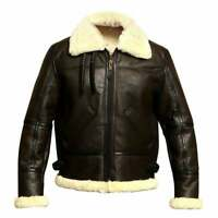 Men's B3 Bomber Aviator Sheepskin Leather Dark Brown Winter Jacket
