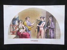 Ovidio, Mercurio, Nasoni Incisione colorata a mano del 1820 Mitologia Pozzoli