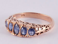 R307- Genuine 9ct Rose Gold NATURAL Sapphire & Diamond Eternity Ring size N
