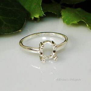 8x6 Oval Claw Pre-Notched Sterling Silver RING Setting Size 7