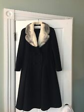 VINTAGE WOMENS BLACK DRESS coat 100% Wool Coat WHITE MINK COLLAR SIZE 10 1216C
