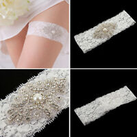 Bridal Vintage Crystal Pearl Wedding Garter White Lace Bride Prom Hen Party NP2