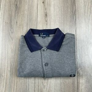 Fred Perry Polo Shirt Gray Men's Size S Small Blue Collar