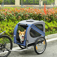 More details for pawhut pet bicycle trailer dog cat bike carrier water resistant blue outdoor