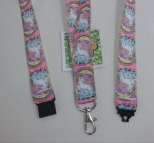 Unicorn ribbon lanyard safety clip ID badge holder student gift prancing dancing