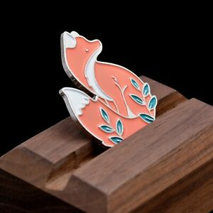 Woodland Fox Brooch Pin in Gold and Silver Tone, Enamel Animal Badge
