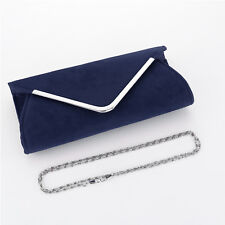Plain Suede Wedding Ladies Party Prom Evening Clutch Hand Bag Purse HandBag