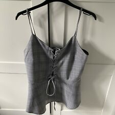 River Island Grey Lace Up Corset Style Cami Top Size 14