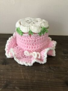 Crochet Toilet Paper Floral Roll Cover Pink E/ Pink Toilet Paper