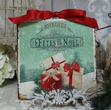 "Vintage ""Fetes de Noel"" Country ~ Shabby Chic ~ Cottage style ~ Wall Decor Sign"