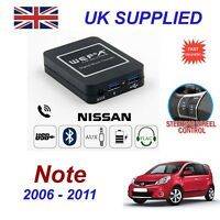 For Nissan Note Music Streaming Bluetooth Telephone Charger SD 2x AUX CD Module