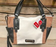 RELIC Monroe Collection Satchel with Shoulder Strap WHITE BROWN & BLACK  New!