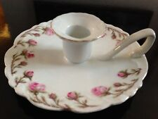 Candelero de mano porcelana decoración floral principios siglo XX
