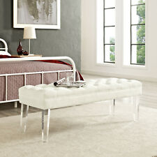 Button-Tufted Ivory Velvet Upholstered Bedroom Entryway Bench With Acrylic Legs