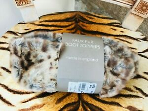 NEW REQUISITE LEOPARD ANIMAL PRINT FAUX FUR WELLINGTON BOOT TOPPERS R.R.P. £25