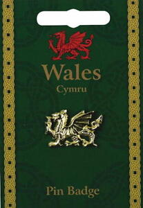 Welsh Dragon Gold Plated Lapel Pin Badge