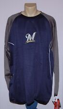 Majestic Milwaukee Brewers Therma Base Tech Fleece Long Sleeve Pullover 5XL