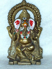 """OLD CAST BRASS GANESH THE ELEPHANT GOD FIGURINE 5 1/2"""" TALL EXCELLENT CONDITION"""