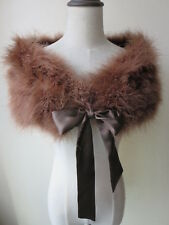 Women Fashion Real Ostrich Feather Fur Cape  party Protect shoulders Dark brown