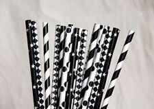 100 black paper straws polka dot stripes chevron drinking party table decoration