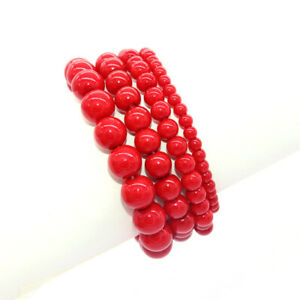 Multicolor Natural Round Beads Stretch Beaded Cuff Bracelet 4mm 6mm 8mm 10mm