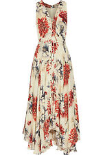 Haute Hippie Lace-Up Floral Print Silk Midi Dress Size Medium $645