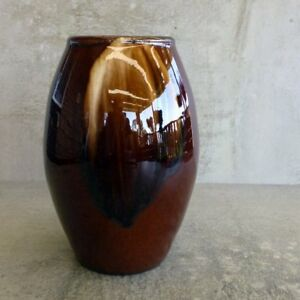 Antique Bendigo Pottery Vase Brown Drip Glaze 15.5cm tall Australian Pottery