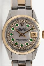 $7000 14k Yellow Gold SS Rolex Ladies Datejust Emerald Diamond Watch BOX & WTY