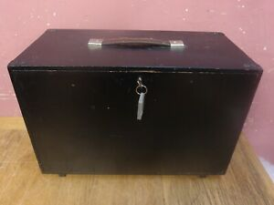 VINTAGE PAINTED MAHOGANY FITTED TOOLMAKER'S 4 DRAWER BOX