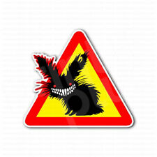 Zombie Bunny Smiley Evil Face Sign Sticker