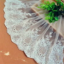 """2 yards Lace Trim Ivory Tulle Retro Paris Floral Embroidery Lace 9.05"""" width"""