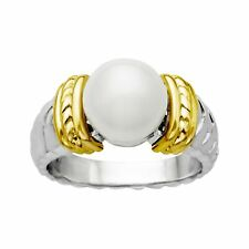 9.5 Mm Pearl Ring in Sterling Silver and 14k Gold