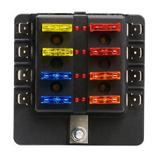 Auto 8 Circuit  ATO waterproof PC terminal Fuse Holder Box Block LED indicator