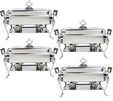 4 PACK Catering Classic STAINLESS STEEL Chafer Chafing Dish Set 8 QT Buffet Full
