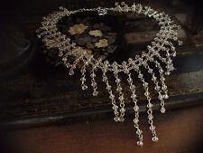 Antiguo Collar de caída en cascada vinculado Cristal Cuenta. Ajustable