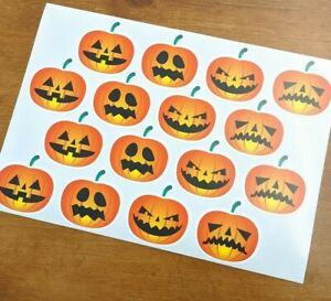 Pumpkin Halloween Vinyl Stickers - Sheet of 16 - Wall & Window Decor for Parties