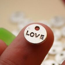 18 Love Charms Round Double Sided Disk Antique Silver Tone Metal 9mm - 113