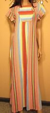 Vtg 70s Striped Caftan Terry Cloth Maxi Dress Lounge Robe M