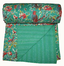 Vintage Green Bird Kantha Quilt Handmade Cotton King Bedspread Throw Blanket Art