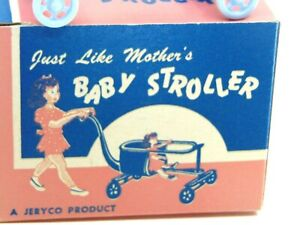 toy dollhouse baby miniatures mcm Baby Stroller home mid century decorative