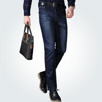Men's Casual Slim Fit Straight Leg Washed Denim Jean Pants Jeans long Trousers
