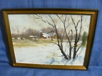 "Listed Artist Harry Barton Oil Painting ""Early Winter"" Landscape"